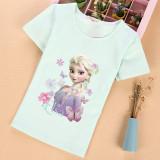 Toddler Kids Girls Print Frozen Elsa Princess T-shirt Tee Tops