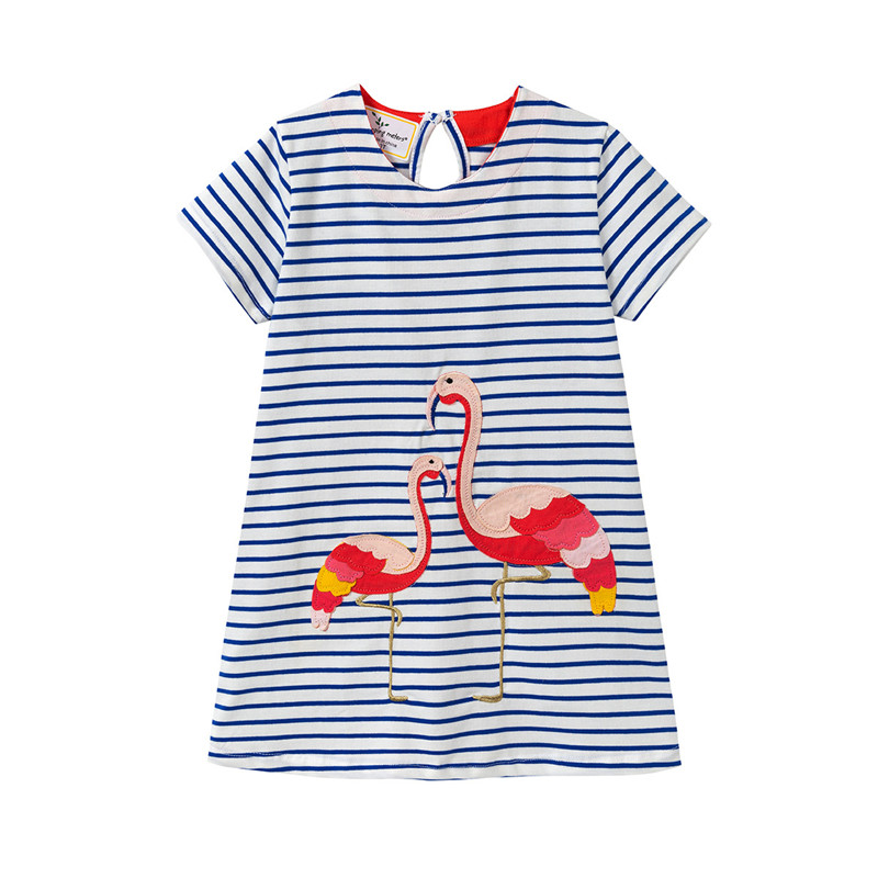 Toddler Kids Girls Stripes Print Flamingos Dinosaurs Rainbow Casual Cotton Dress