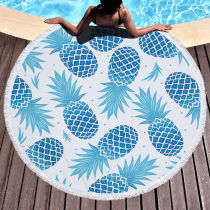 Print Pineapples Round Tassels Cotton Beach Towel Blanket Table Cover Wall Hanging