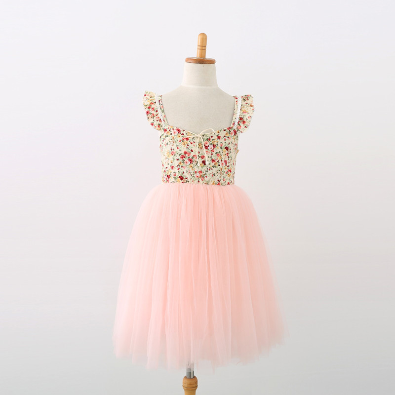 Toddler Girls Flowers Lace Ruffles Backless Tutu Princess Dress