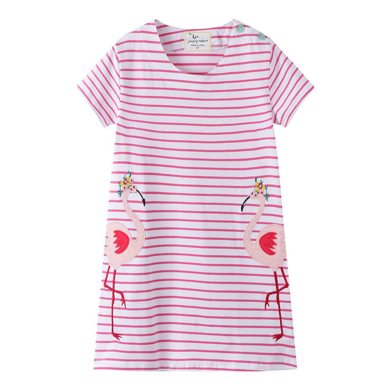 Toddler Kids Girls Pink Stripes Embroider Flamingo Cotton T-shirt Dress