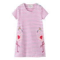 Toddler Kids Girls Pink Stripes Embroider Flamingo Cotton T-shirt Dress