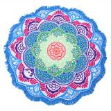 Print Mandala Rainbow Lotus Flower Tassels Beach Towel Blanket Table Cover Wall Hanging