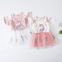 Kid Girl Print Unicorn Cold Shoulder Blouse and Tutu Feather Skirt Two Pieces Sets