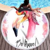 Print Rainbow Feathers Dreamcatcher Round Tassels Cotton Beach Towel Blanket Table Cover Wall Hanging