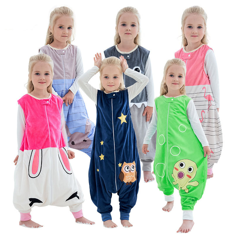 Unisex Kids Split Legs Animals Sleeping Bag Winter Zipper Sleepwear Sleeveless Warm Pajamas