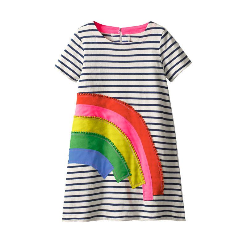 Toddler Kids Girls Black Stripes Embroider Rainbow Cotton T-shirt Dress