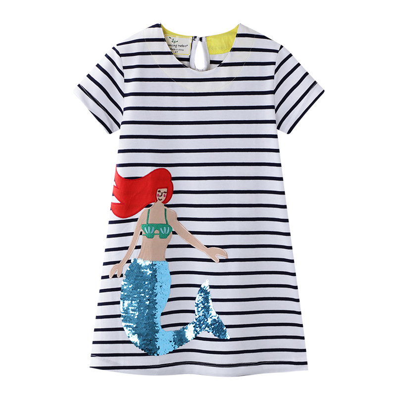 Toddler Kids Girls Eembroidery Sequins Unicorn Mermaid Rainbow Stripes Short Sleeves Dress