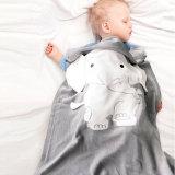 Cute Grey Elephant Knit Blanket For Kids