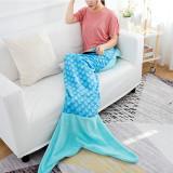 Kids Mermaid Tail Ombre Fish Scale Design Flannel Blanket Sleeping Bag