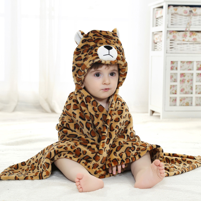 Kid Leopard Hooded Bathrobe Cape Bathrobe Cloak