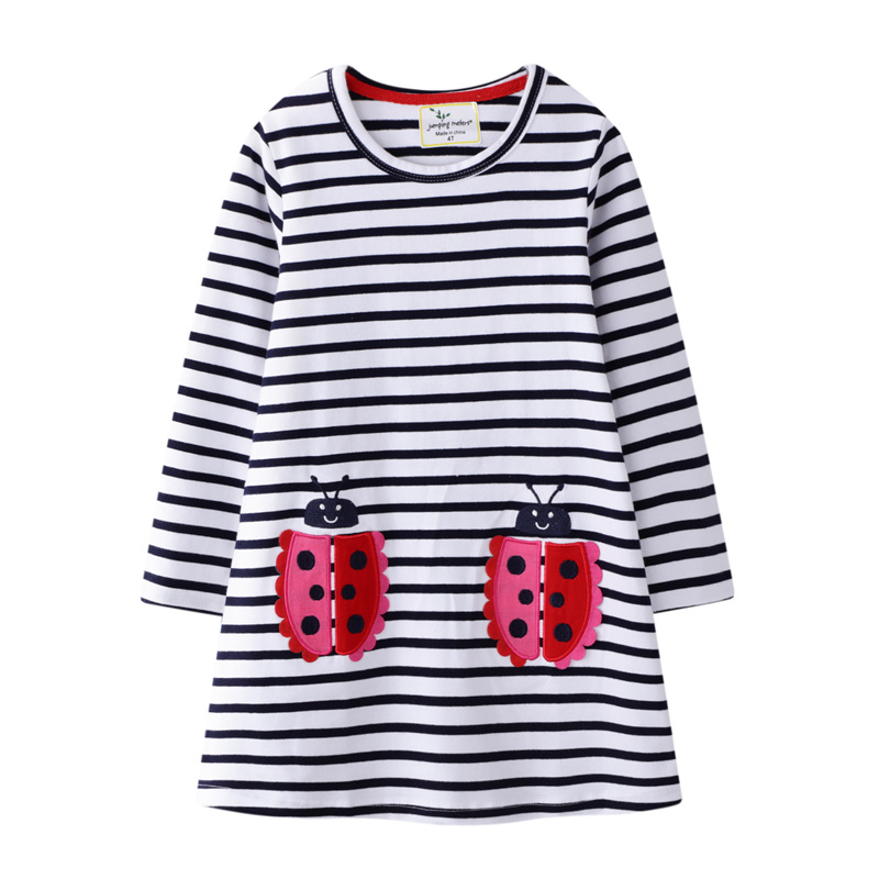 Toddler Kids Girls Print Couple Ladybugs Flowers Hearts Stripes Long Sleeves Cotton Dress