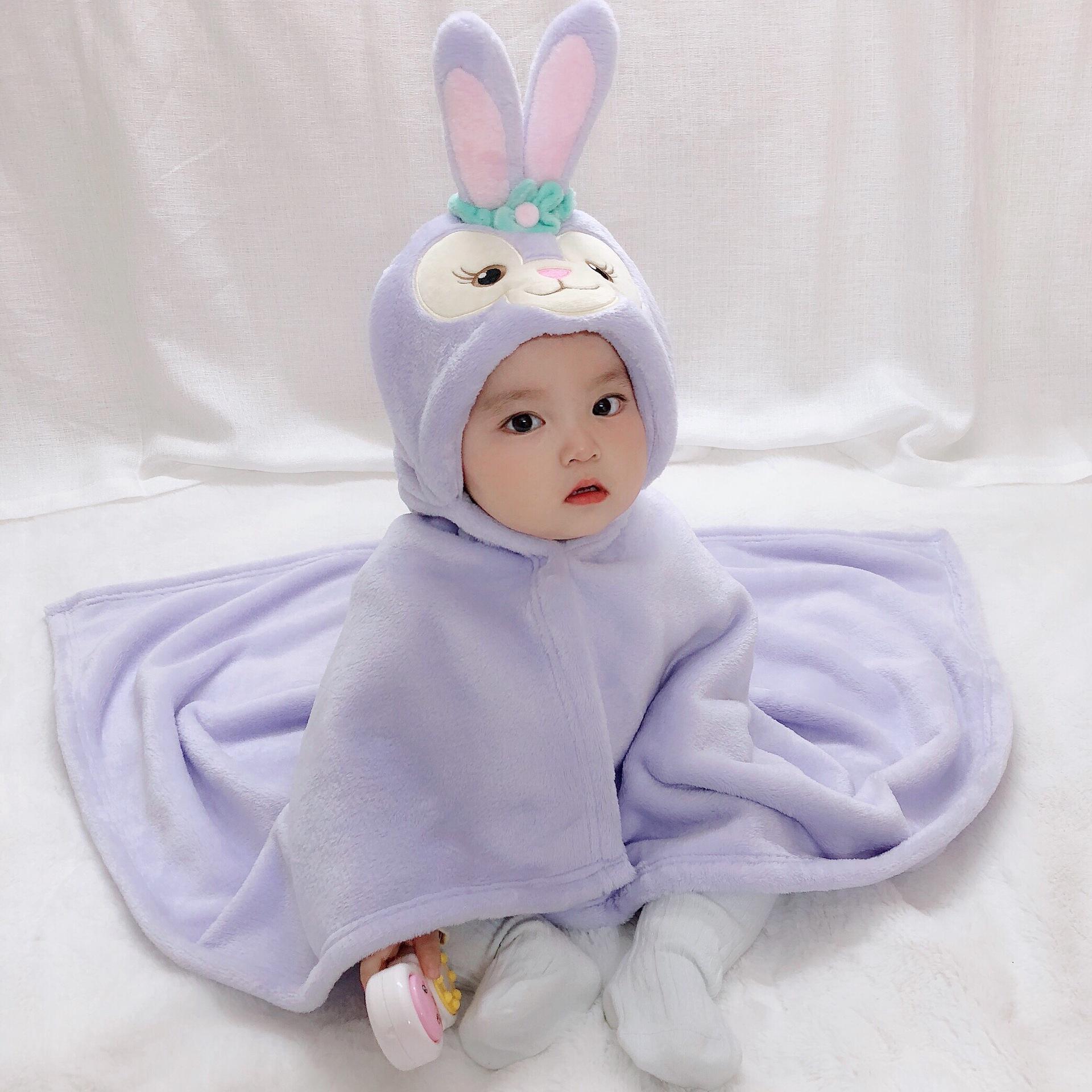 Kid Purple Rabbit Face Hooded Bathrobe Cape Bathrobe Cloak