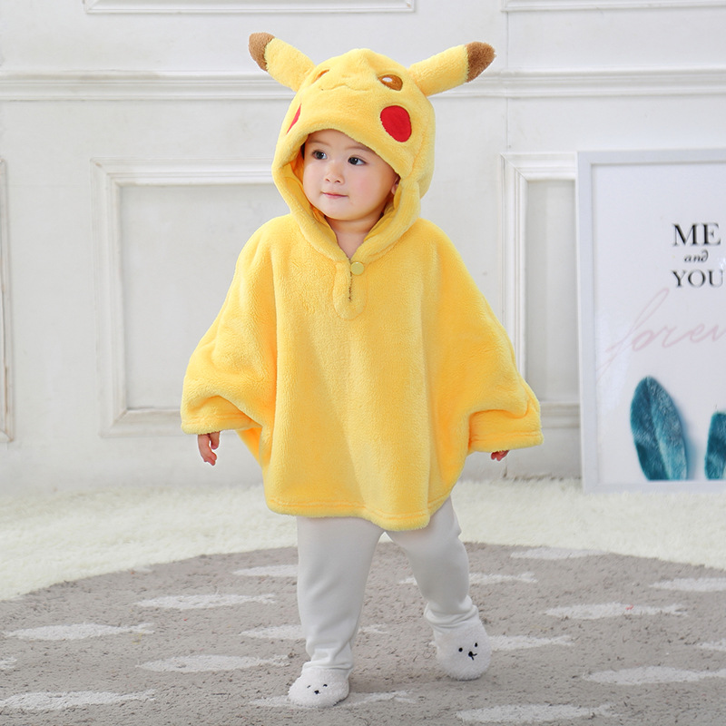 Baby Yellow Pikachu Pokemon Flannel Cloak Warm Winter Hooded Cape