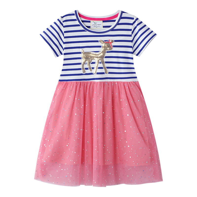 Toddler Kids Girls Eembroidery Gold Sequins Deer Stripes Short Sleeves Tutu Dress