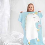 Cute Unicorn Ice Cream Knit Blanket For Kids