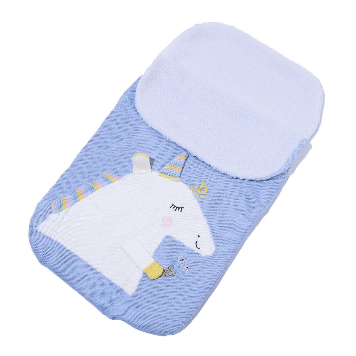 Newborn Baby Wrap Swaddle Knit Blanket Unicorn Sleeping Bag