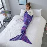 Kids & Adult Color Matching Crochet Knit Mermaid Tail Blanket Sleeping Bag