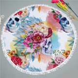 Print Colorful Flowers Tropical Palm Leaves Stripes Round Tassels Cotton Beach Towel Blanket Table Cover Wall Hanging