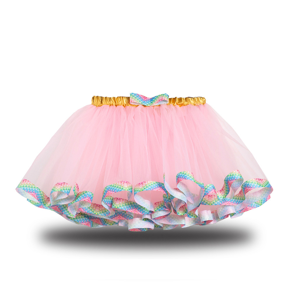 Toddler Kid Girl Color Matching Rainbow EdgeTutu Skirt