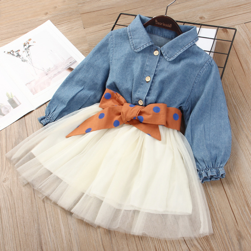 Toddler Kids Girls Blue Denim Blouse Bowknot Tutu Dress
