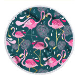 Print Flamingos Round Tassels Cotton Beach Towel Blanket Table Cover Wall Hanging