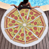 Print Food Pizza Round Tassels Cotton Beach Towel Blanket Table Cover Wall Hanging