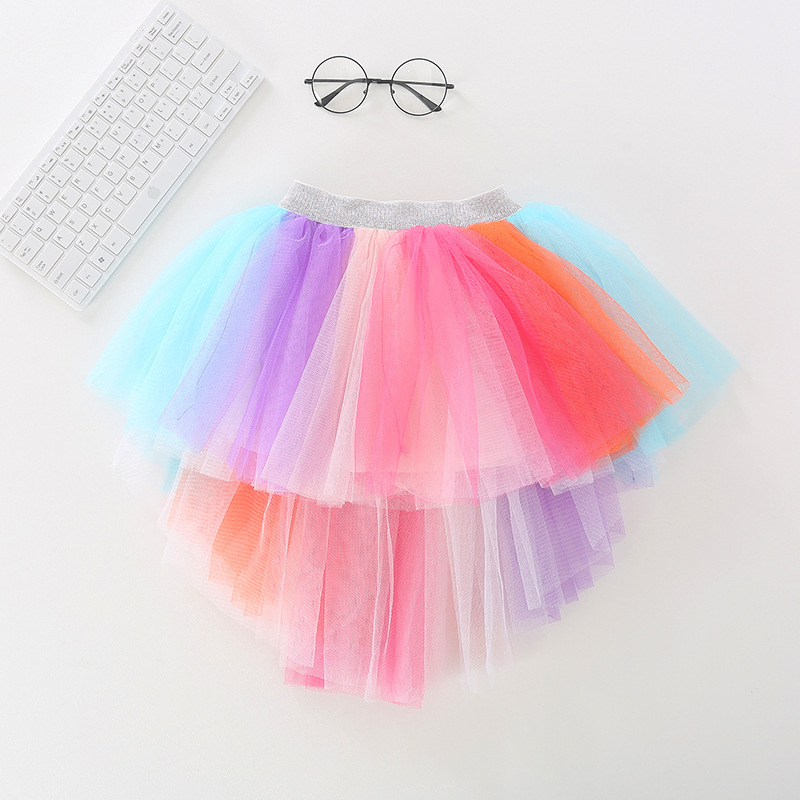Toddler Kid Girl Color Matching Rainbow Irregularity Tutu Skirt