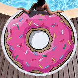 Print Sweet Delicious Doughnut Round Tassels Cotton Beach Towel Blanket Table Cover Wall Hanging