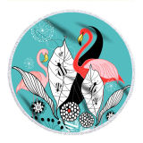Print Flamingos Tropical Palm Leaves Round Tassels Cotton Beach Towel Blanket Table Cover Wall Hanging
