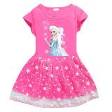 Toddler Girls Print Frozen Stars Moon Tutu A-line Dress