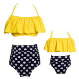 Mommy and Me Matching Swimwear Prints Yellow Bananas Rufflles Bikini Swimsuit