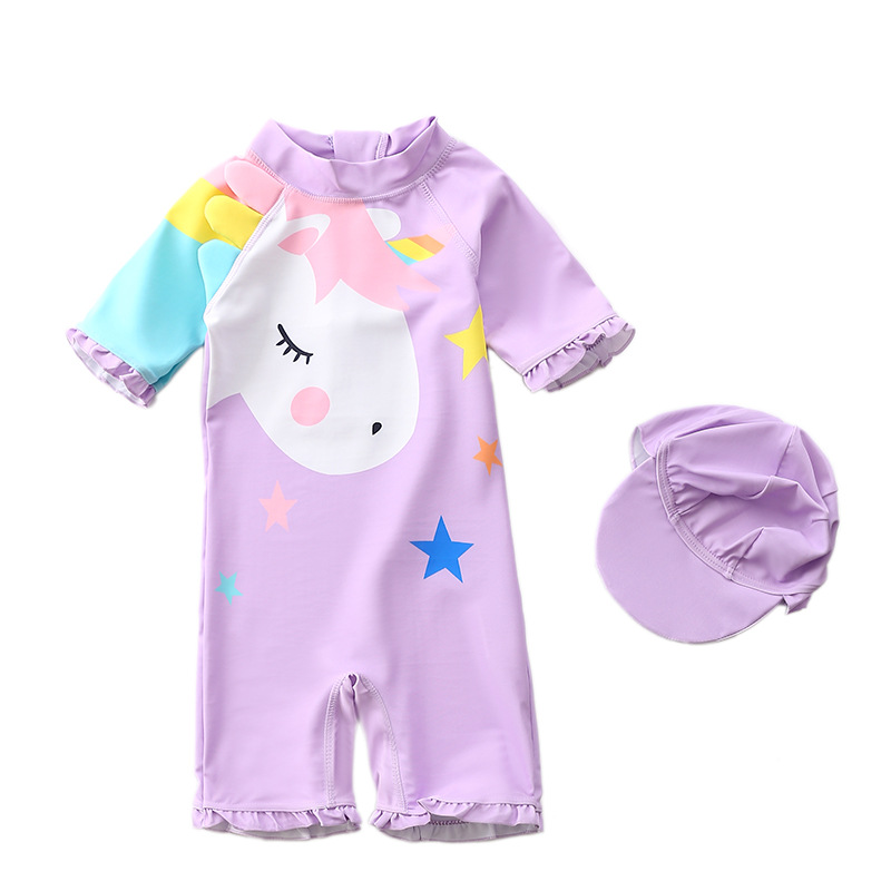 Toddle Kids Girls Print Unicorn Stars Swimsuit Swimwear With Cap