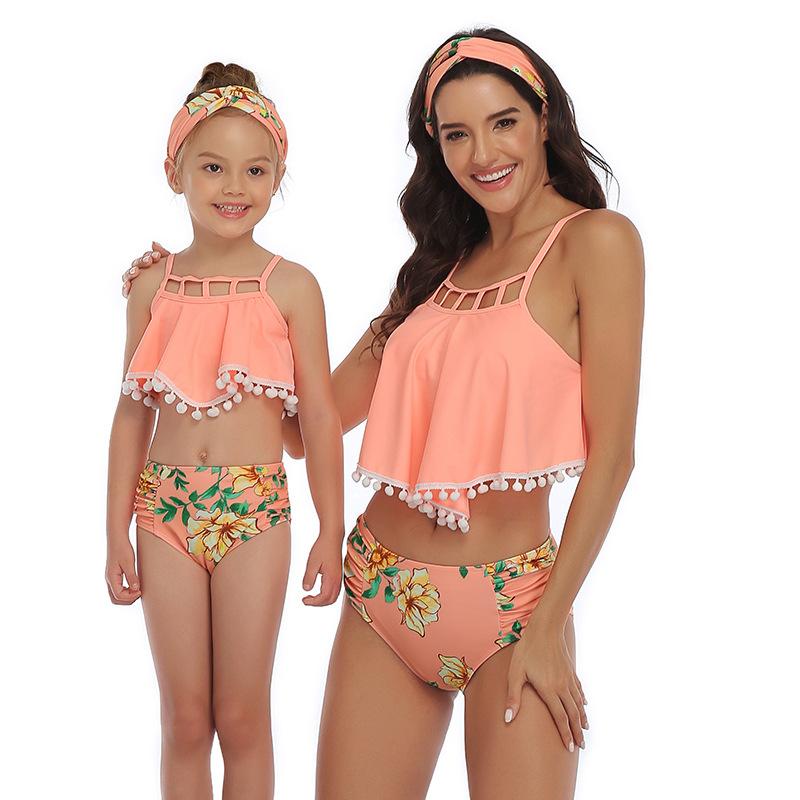 Mommy and Me Print Flowers Pompom Ruffles Bikini Sets Matching Swimwear