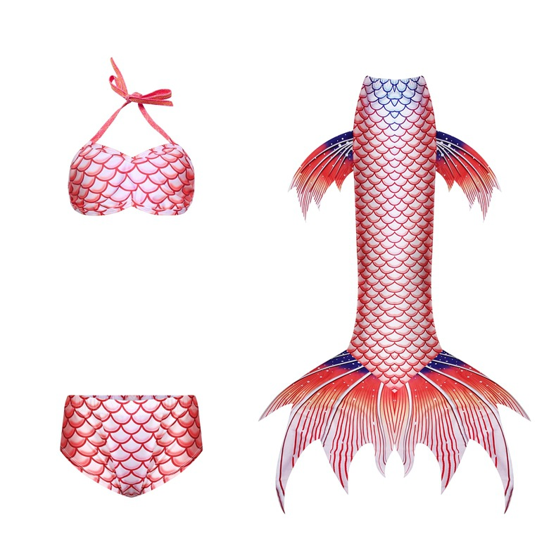 3PCS Kid Girls Omber Scale Flying Fish Mermaid Tail Bikini Swimsuit