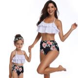 Women Swimsuit Bikinis Sets Ruffles Print Flowers Swimwear