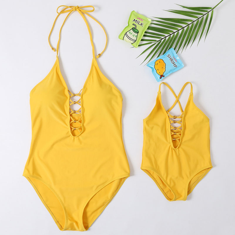 Mommy and Me Lace Up Backless Yellow Matching Swimwears