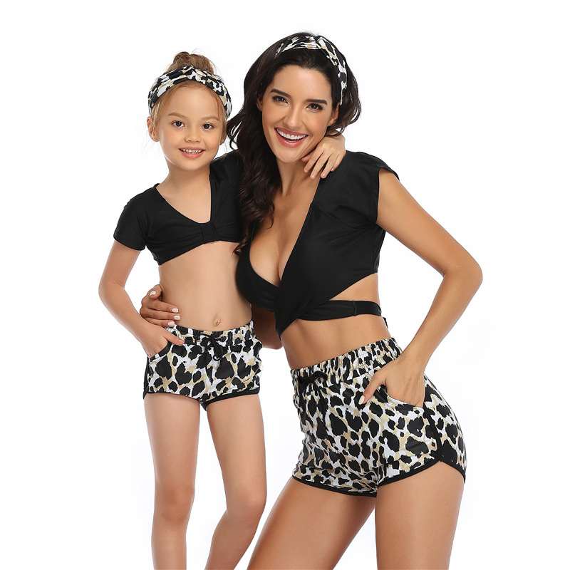Mommy and Me Sports Print Leopard Print Bikini Sets Matching Swimwear