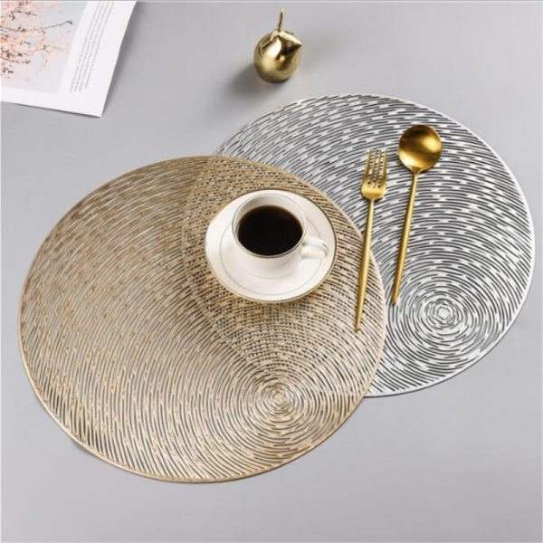 Round Hollow Out Waterproof Insulation Non-Slip PVC Placemats For Dining Table Mats