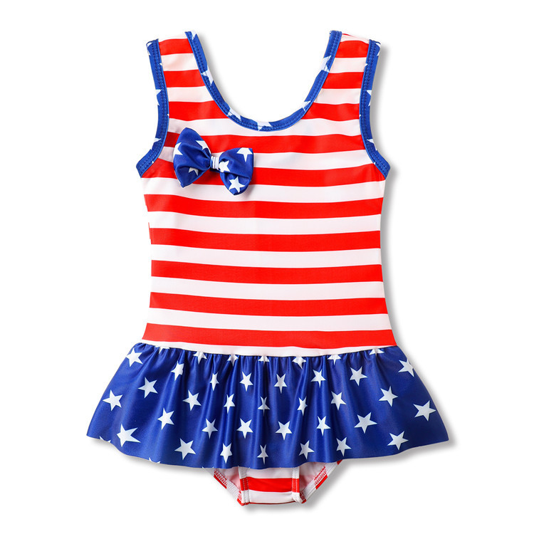 Toddle Kids Girls Stripes Ruffles Swimsuit Swimwear