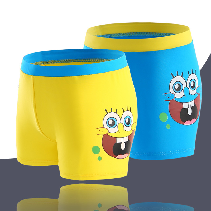 Kid Boys Print SpongeBob Swimwear Trunks Swim Boxer Shorts