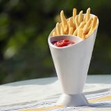 Assorted Sauce Storage Dish Plates Tableware Creative Lazy Snack 2 Grid Plastic Bowl French Fry Chips Salad Cone Dipping Cup