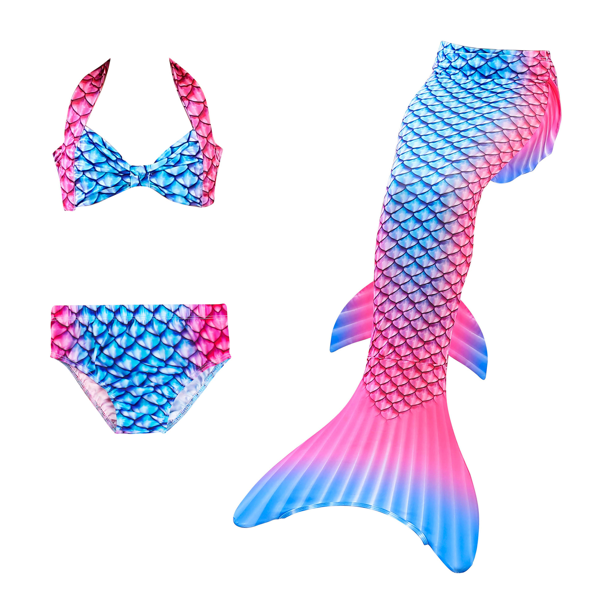 3PCS Kid Girls Strap Ombre Scales Mermaid Tail Bikini Sets Swimwear