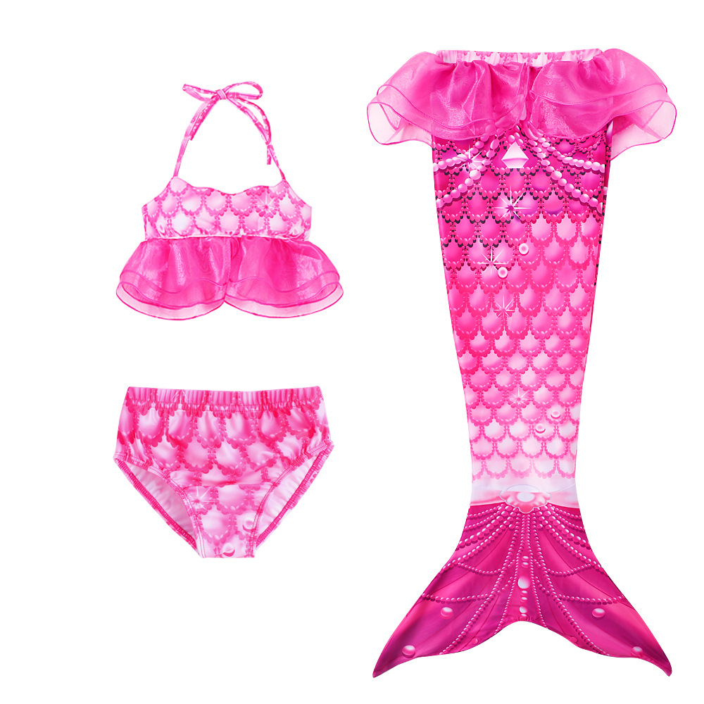 3PCS Kid Girls Scale Ruffles Tutu Mermaid Tail Bikini Swimsuit