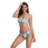 Women Swimsuit Cut Out Print Tropical Leaves Bikinis Sets Swimwear