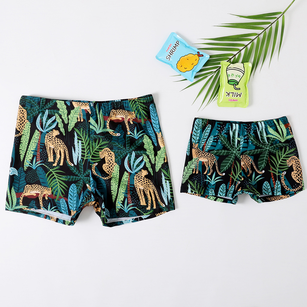Dad and Boys Prints Jungle Cheetah Swimwear Trunks Swim Boxer Shorts
