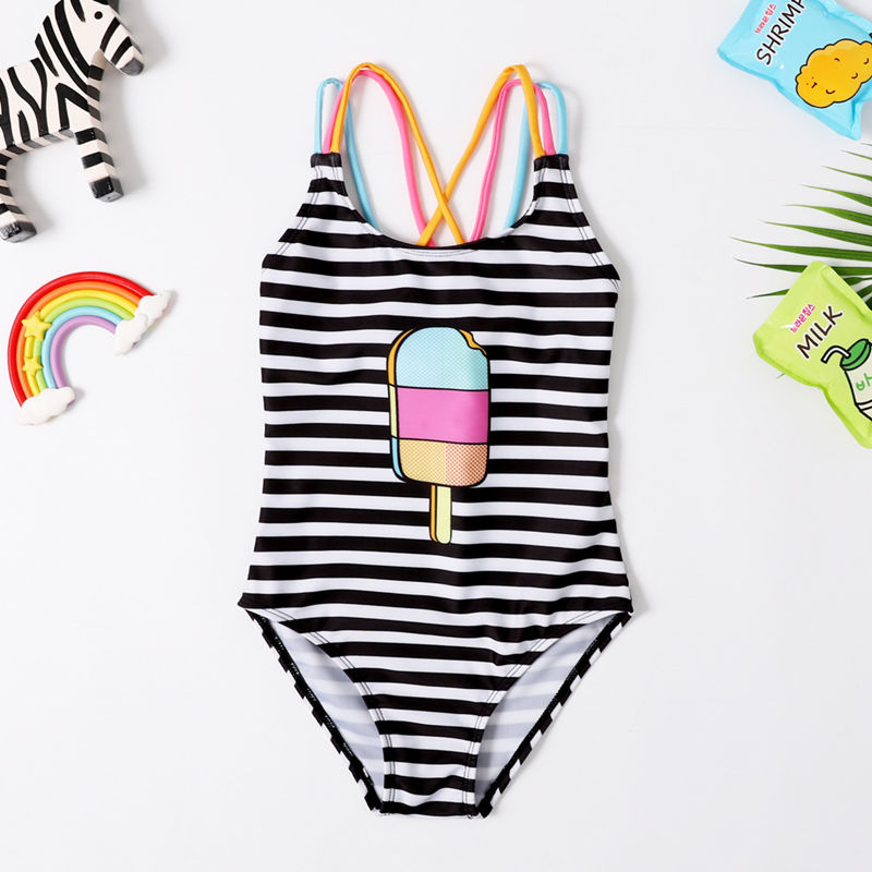 Toddle Kids Girls Black Stripes Ice Cream Swimsuit Swimwear
