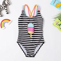 Toddle Kids Girls Black Stripes Ice Cream Swimsuit Swimwear