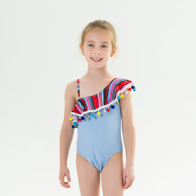 Toddle Kids Girls One Shoulder Rainbow Pompoms Stripes Swimsuit Swimwear