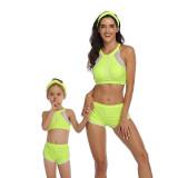 Mom and Me Matching Swimwear Sport Leopard Print Bikini Set and Truck Shorts